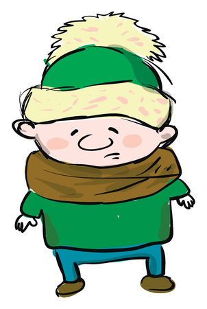 A fully covered little boy in warm winter clothes vector color drawing or illustration