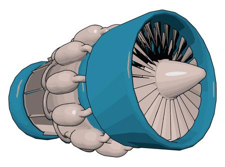 Motor a reacción utilizado en la generación de energía eléctrica para alimentar bombas de aceite de gas natural de agua y proporcionar propulsión para barcos y locomotoras, dibujo o ilustración en color vectorial