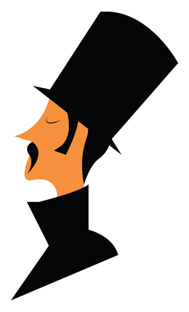 A man is wearing long black hat and coat with a thick mustache vector color drawing or illustration Ilustracja