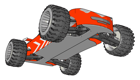 An orange colored mini toy car with four black wheels is riding on floor vector color drawing or illustration