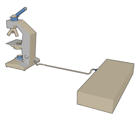 A microscope is an instrument used to see objects that are too small to be seen by the naked eye vector color drawing or illustration