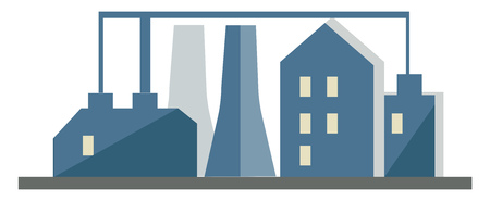 Clipart of industrial set up with factories and chimneys vector color drawing or illustration