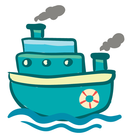 Blue triple storied steam ship with life preserver vector color drawing or illustration