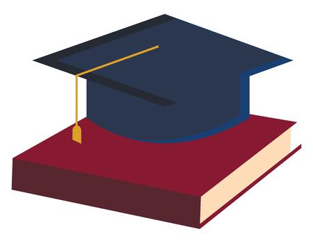 Una clipart con un libro e un cappello di laurea che raffigura il disegno o l'illustrazione a colori del vettore educativo