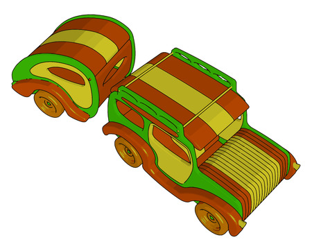 A attractive toy car is standing on ground fetching attention of every child to buy it vector color drawing or illustration Ilustração
