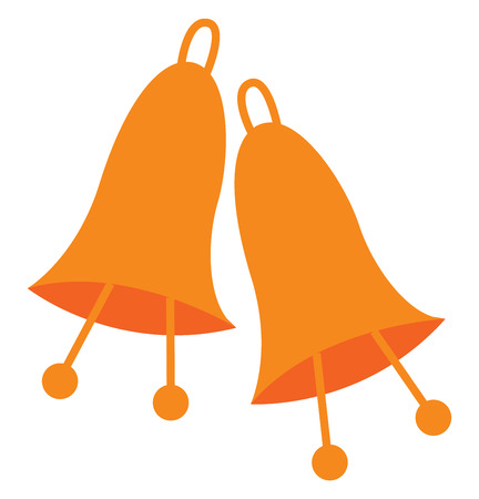 Two orange color hang able ringing bell with two clapper vector color drawing or illustration
