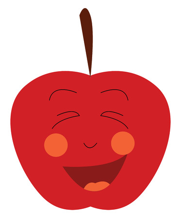 A fresh red happy apple with stem vector color drawing or illustration