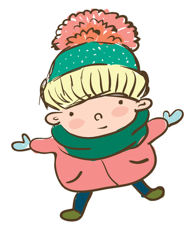 A boy covered in warm winter clothes is enjoying the weather outside vector color drawing or illustration 일러스트