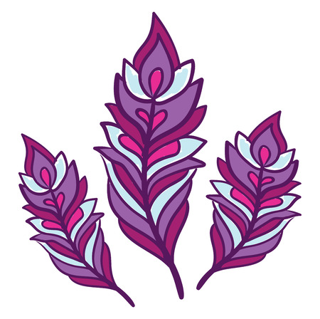 Un clipart colorido púrpura brillante de tres plumas en varios colores de dibujo o ilustración vectorial de tamaño