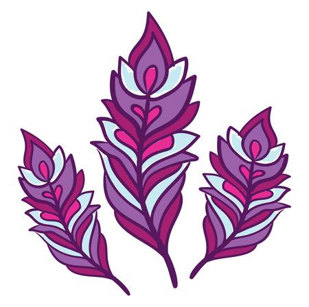 Una clipart colorata viola brillante di tre piume in varie dimensioni disegno a colori vettoriale o illustrazione