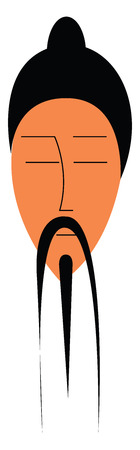 Asian man with black hair and long hanging mustache vector color drawing or illustration Иллюстрация