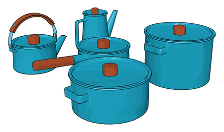 Five blue colored kitchen utensils used for keeping eatables for short duration after preparing food vector color drawing or illustration
