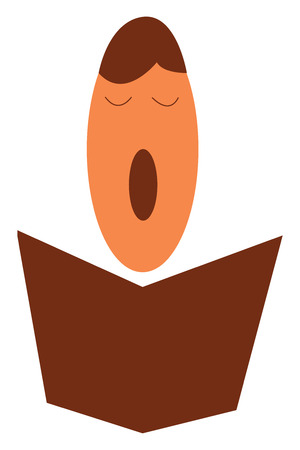 A boy holding prayer book during choir performance vector color drawing or illustration Illustration