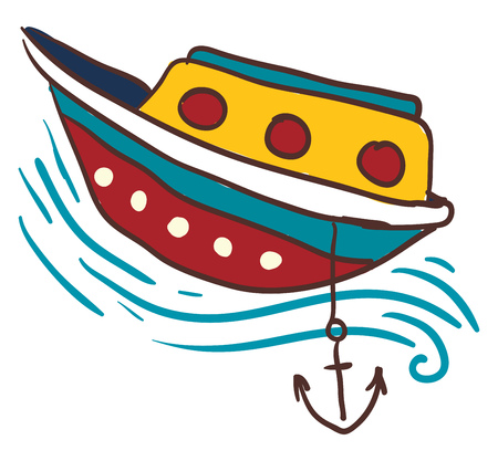 A colorful small boat is anchored in the water vector color drawing or illustration