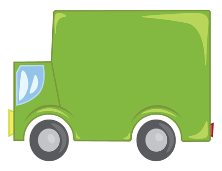Clipart of a green commercial truck used for goods transportation vector color drawing or illustration Illusztráció