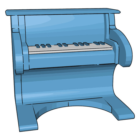 Toy pianos are usually no more than 50 cm in width and made out of wood or plastic vector color drawing or illustration