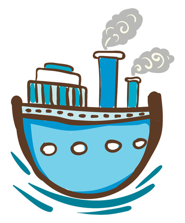 Blue steam ship with windows is floating on the blue water vector color drawing or illustration Illusztráció