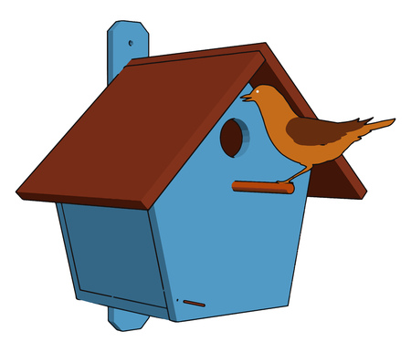 A manmade enclosure provided for animals to nest in mainly for bird It is also called birdhouses or bird box vector color drawing or illustration Illusztráció