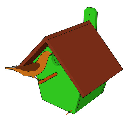 It is made from wood with an overhanging sloped roof a recessed floor drainage or ventilation holes vector color drawing or illustration