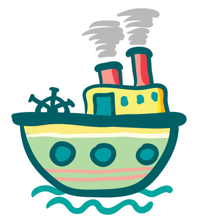 Painting of a colorful steam ship boat travelling on the sea vector color drawing or illustration