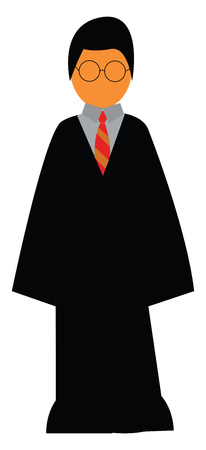 A young boy in Harry Potter costume of long black overcoat vector color drawing or illustration