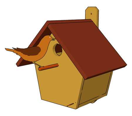 A bird with a small home A bird house or nest box is an artificial nest for birds vector color drawing or illustration