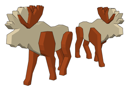 Two white reindeer toy with white and brown color made up of wood walking silently on road vector color drawing or illustration