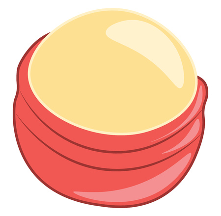Orange lip balm in red round container vector color drawing or illustration