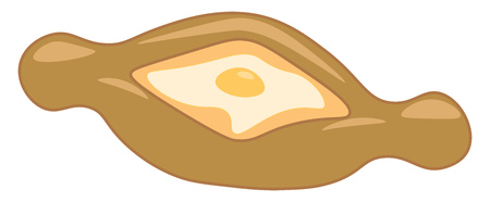 Ajarian khachapuri is a traditional cheese filled bread dish vector color drawing or illustration