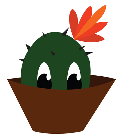 A cute cactus plant with orange flower is looking out of its brown pot vector color drawing or illustration Reklamní fotografie - 123452373