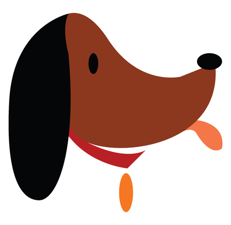 Face of a brown dog with golden badge hanging in the neck vector color drawing or illustration