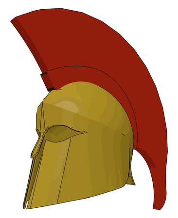 A protective head covering made up of hard material such as leather metal etc vector color drawing or illustration Illustration
