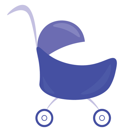 A blue baby carriage or cart for comfortable travelling vector color drawing or illustration Vektorové ilustrace