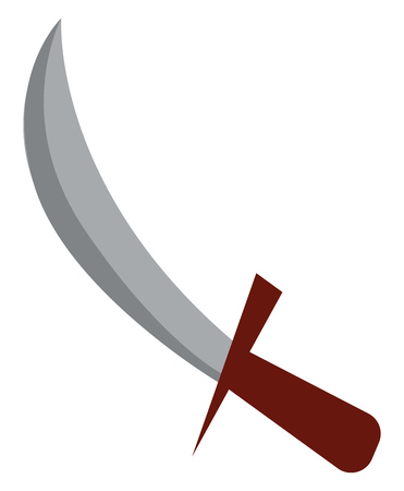 A sharp metal weapon called knife with wooden handle vector color drawing or illustration  イラスト・ベクター素材