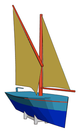 In sail boat a sail is a tensile structure made from fabric or other membrane materials vector color drawing or illustration