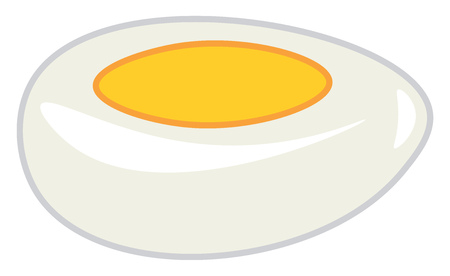A white hard boiled egg with visible yellow yolk in the center vector color drawing or illustration Illustration