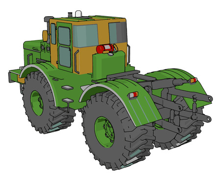 A tractor is an engineering vehicle specifically designed to deliver a high attractive effort at slow speeds vector color drawing or illustration Ilustracja