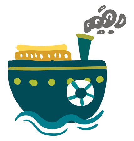 A blue steam ship with life preserver is sailing in the blue water vector color drawing or illustration Illusztráció
