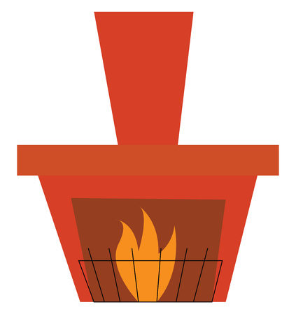 Clipart of a burning fore place with black protective fencing vector color drawing or illustration