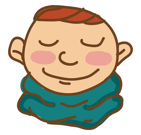 A blushing brown hair boy in blue neck scarf vector color drawing or illustration 일러스트