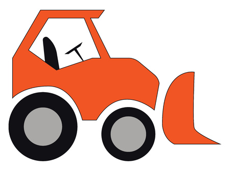 An orange eskalator car with driver seat and steering wheel vector color drawing or illustration