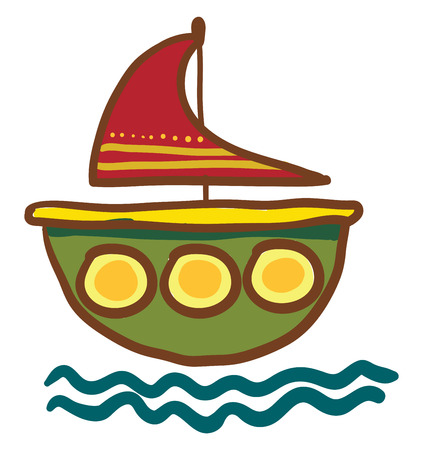 A small red and green colorful vessel floating vector color drawing or illustration