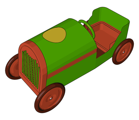 A vehicle toy small in size sliding on floor with having four wheels and one steering vector color drawing or illustration