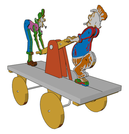 An unique type of toy on which two jokers are there with holding a pulley handle vector color drawing or illustration Illustration