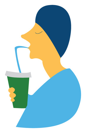 A boy wearing blue dress is taking sip of his cold coffee vector color drawing or illustration