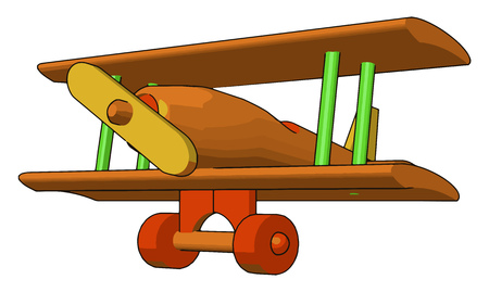 A wooden toy plane looking like replica of original biplane vector color drawing or illustration