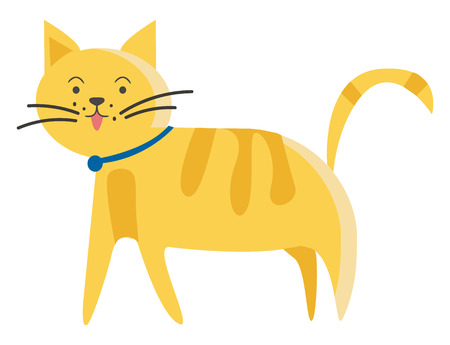 Illustration of brown pet kitty with blue ribbon on the neck vector color drawing or illustration Illustration