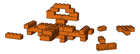 Some orange colored blocks spread on floor to make some design and play vector color drawing or illustration Illusztráció
