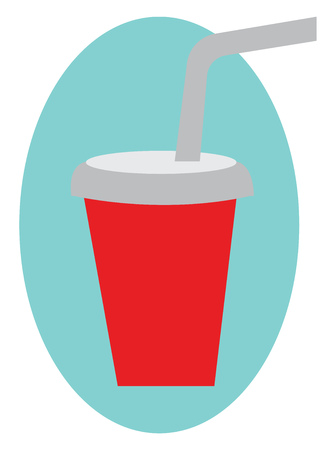 A beverage in a glass covered with lid and straw is ready for serving vector color drawing or illustration   イラスト・ベクター素材