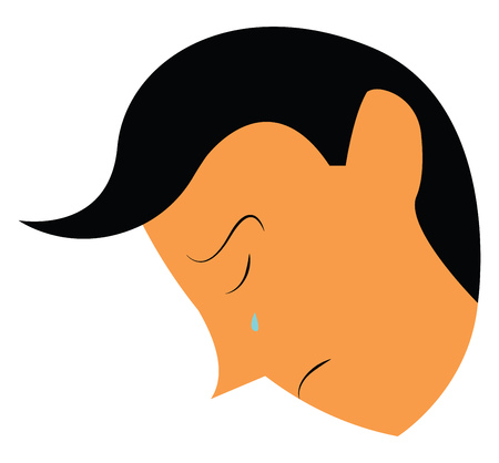 Face of sad boy with tear flowing out of his eyes vector color drawing or illustration Иллюстрация